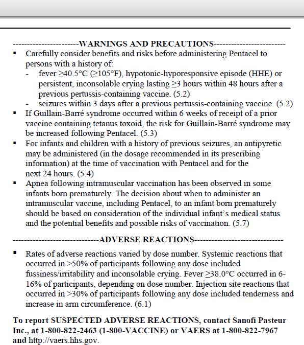 pentacel info sheet adverse reactions
