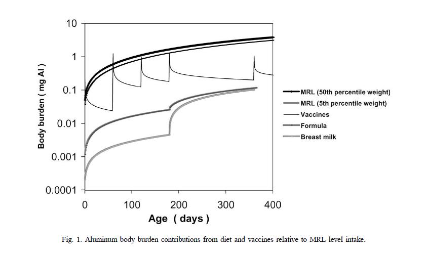 aluminum body burden from diet (breast milk) versus vaccine